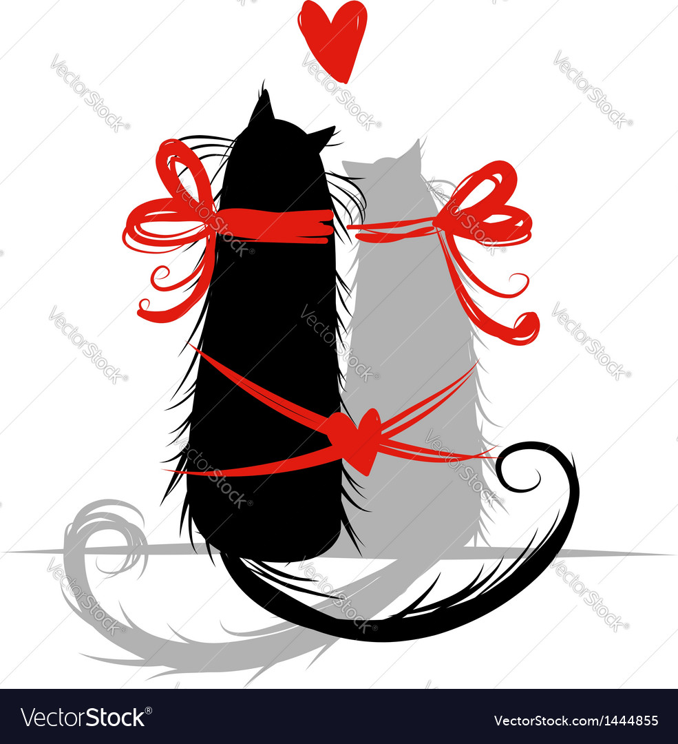 Two cat in love for your design vector