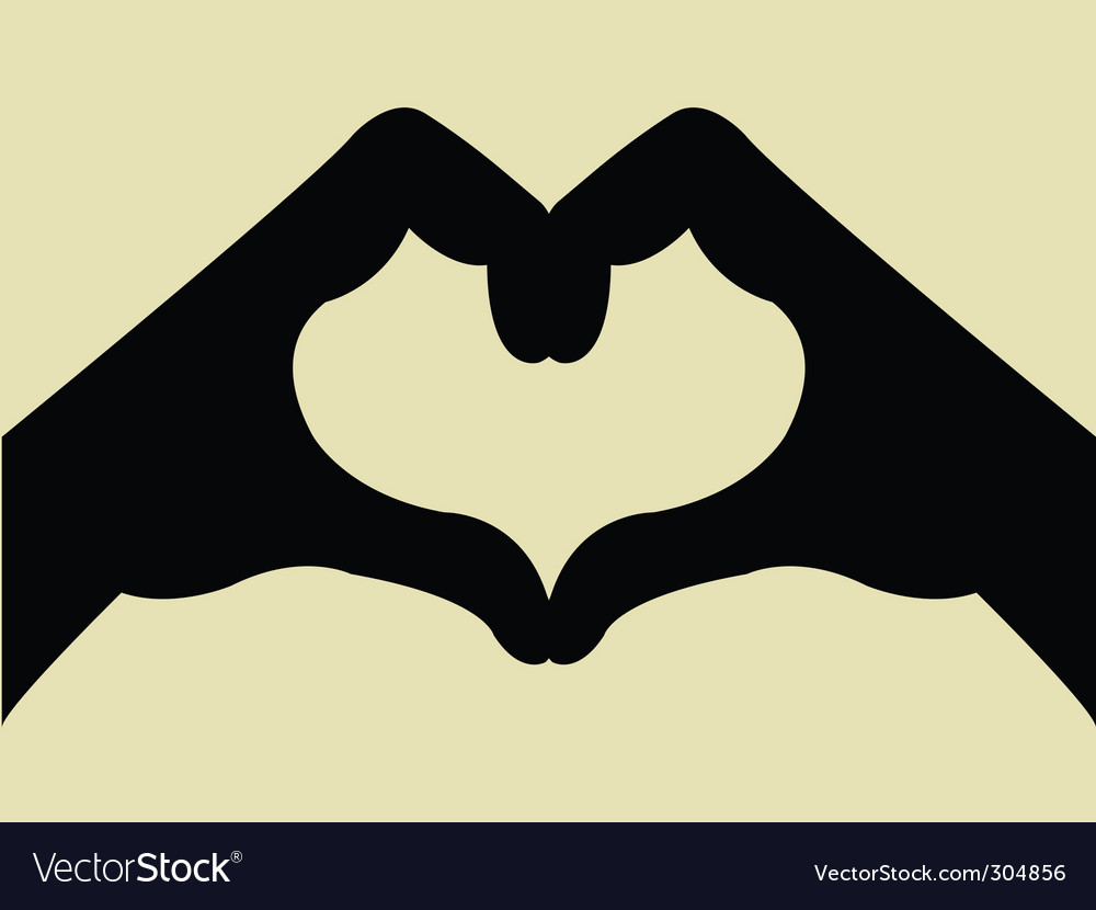 Heart shape hand gesture vector