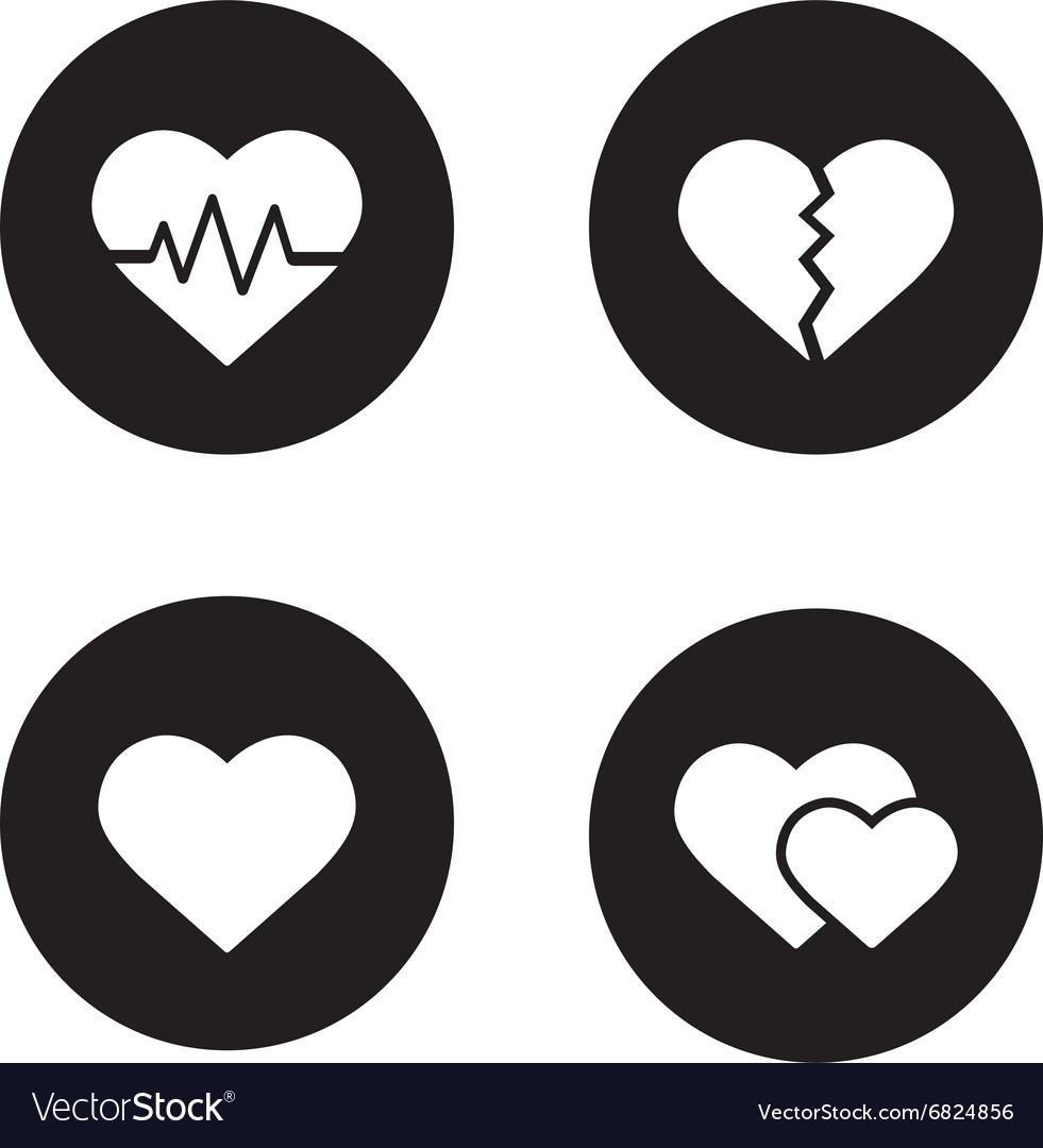 Heart shapes black icons set vector