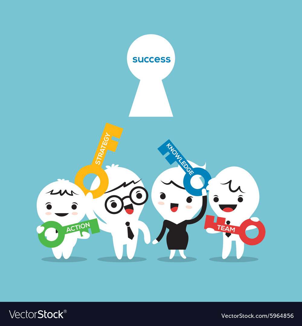 Key to success business strategy concept cartoon vector
