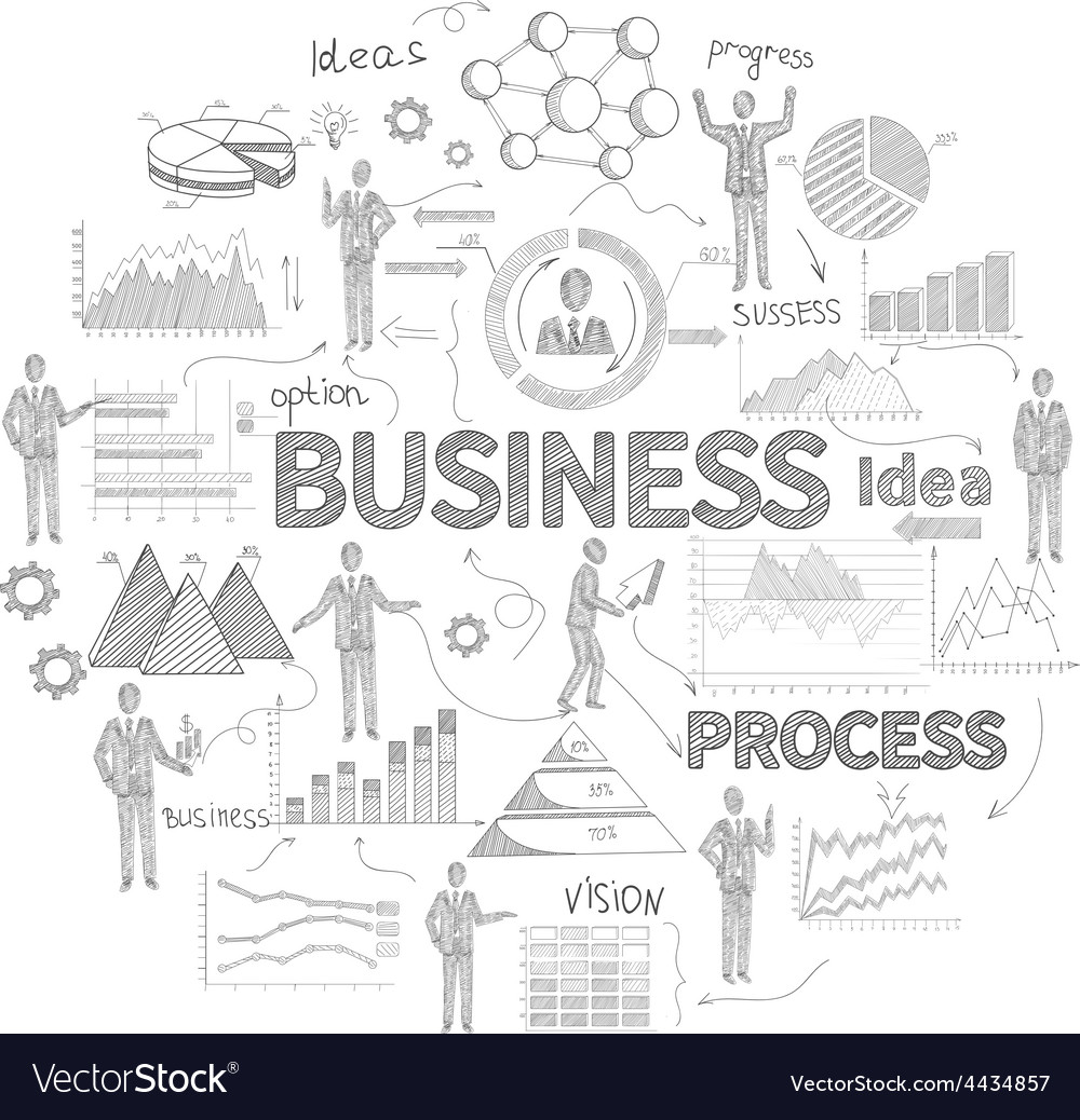 Business concept sketch vector