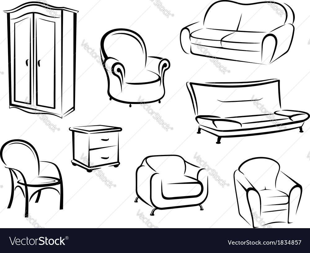 Collection of furniture designs vector