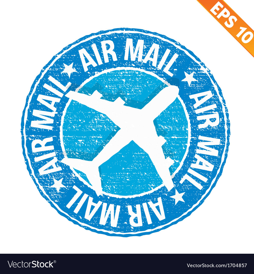 Stamp sticker air mail collection   eps10 vector