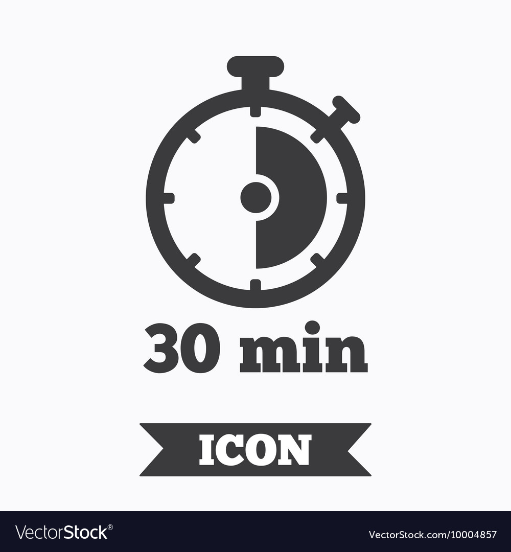Timer sign icon 30 minutes stopwatch symbol vector