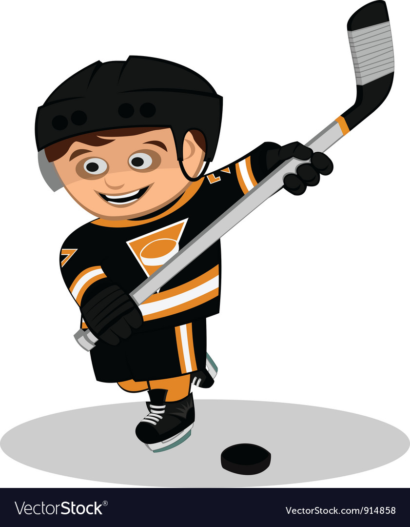 Cartoon ice hockey player vector