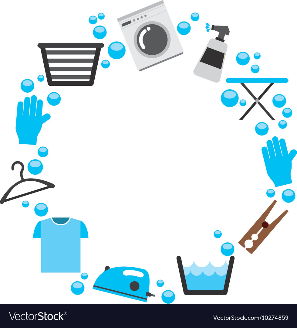 Laundry set icons isolated vector