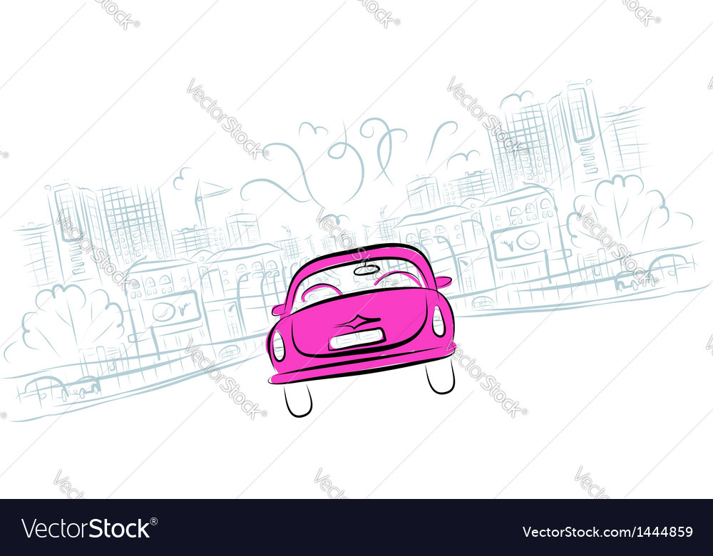 Pink car on the city road for your design vector