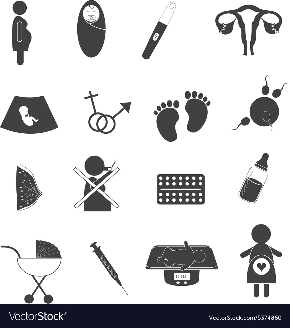 Pregnant and maternity icons set vector