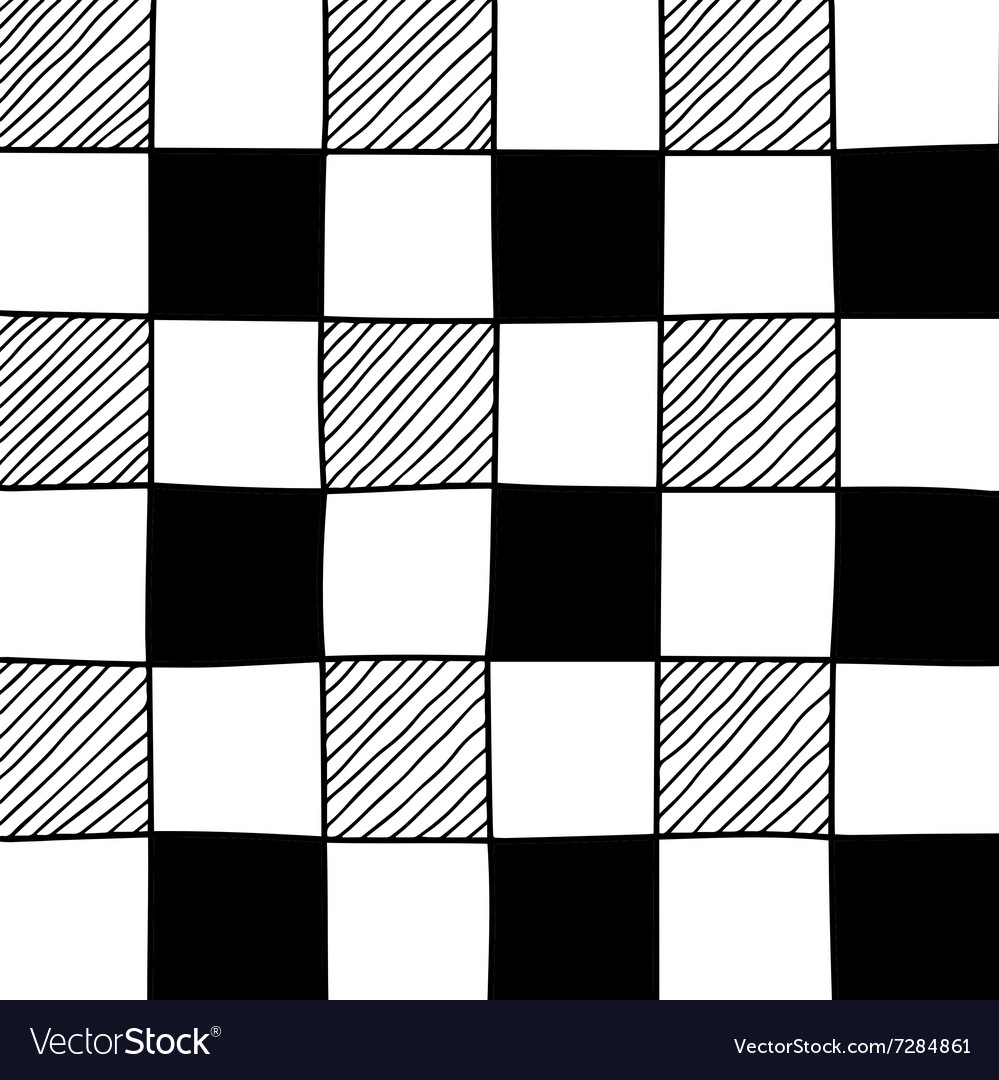 Hand drawn abstract chessboard pattern vector
