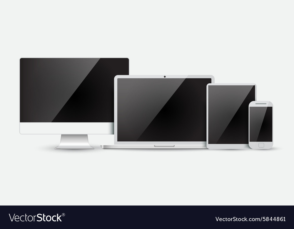 Set of realistic computer monitor laptop tablet vector