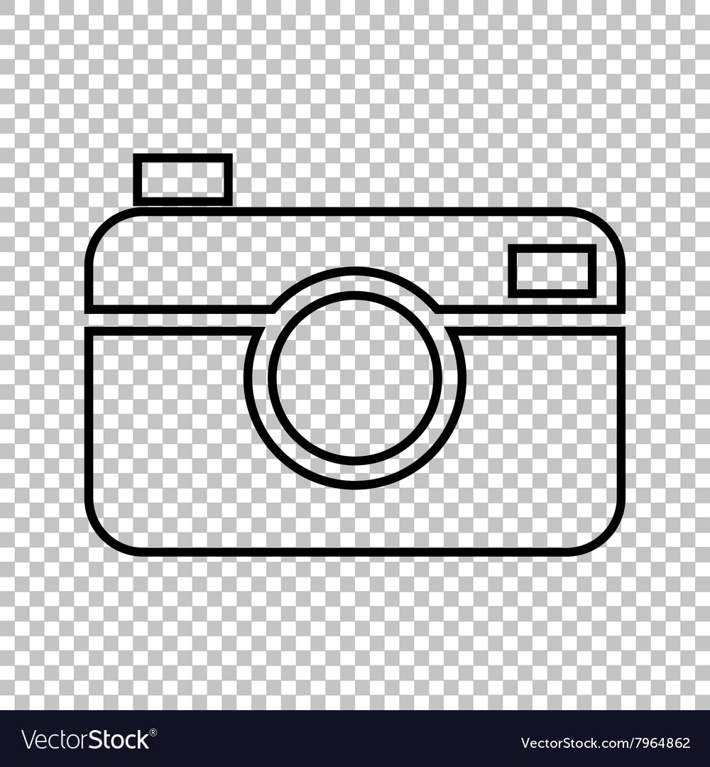 Digital photo camera line icon vector