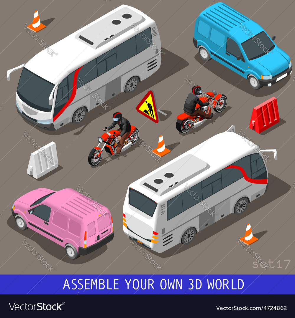 Isometric flat 3d vehicle tourism set vector