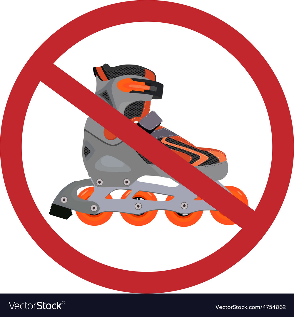 No rollerblades sign vector