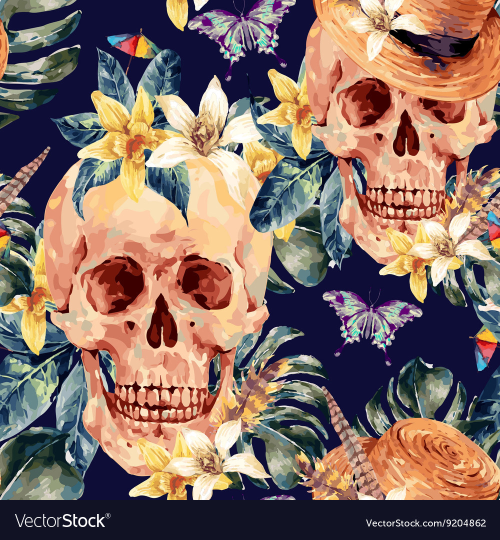 Summer watercolor skull tropical leaves vector