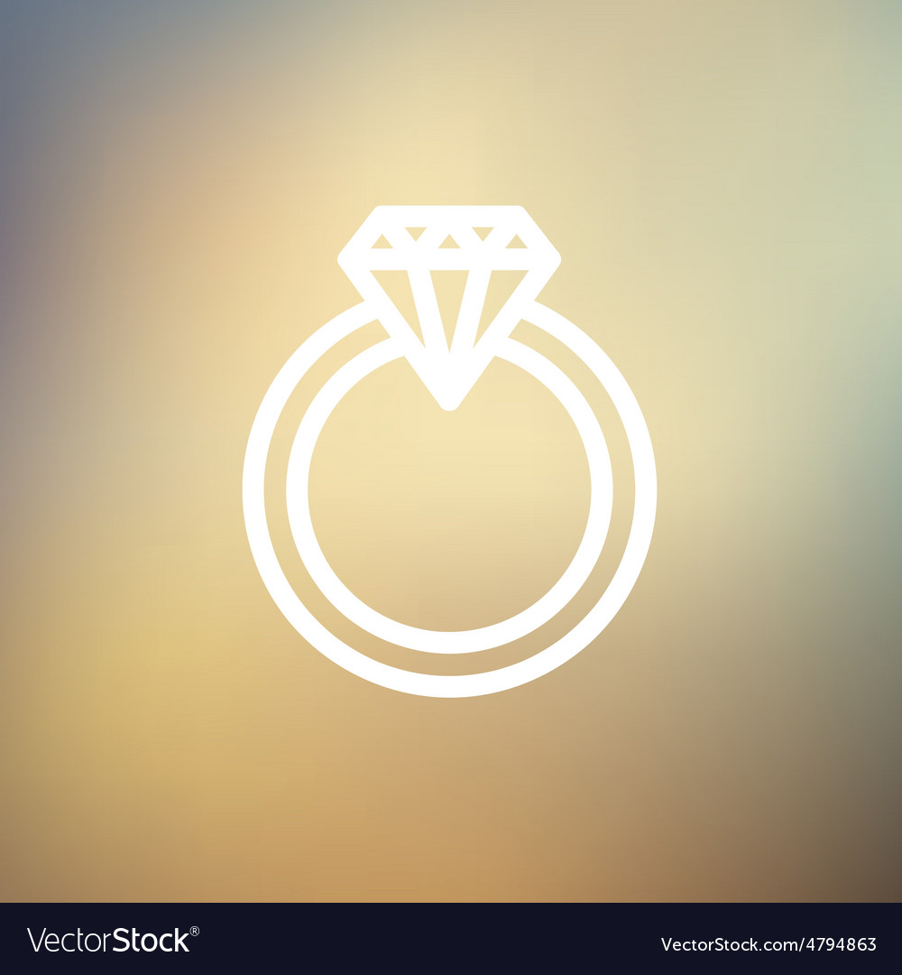 Diamond ring thin line icon vector
