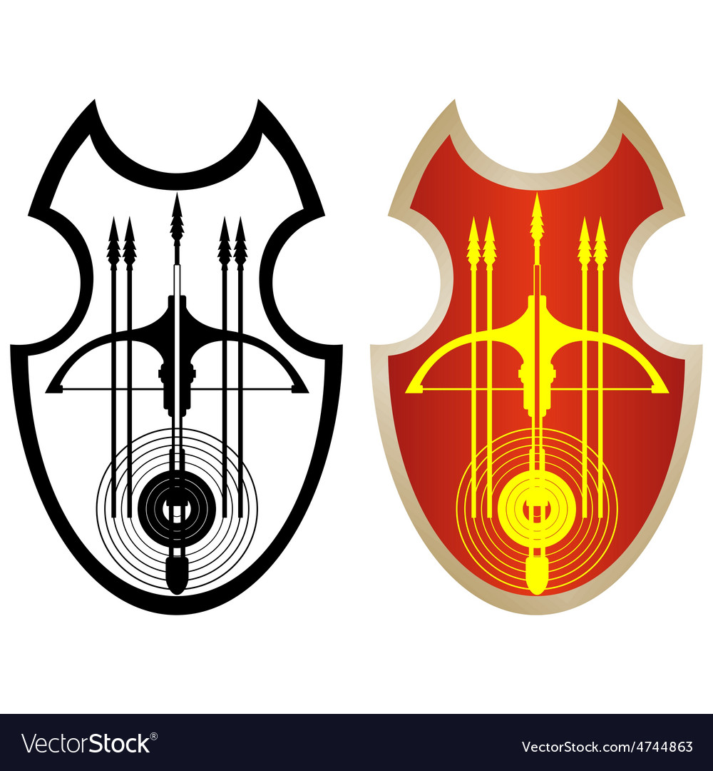 Shield crossbow and arrows1 vector