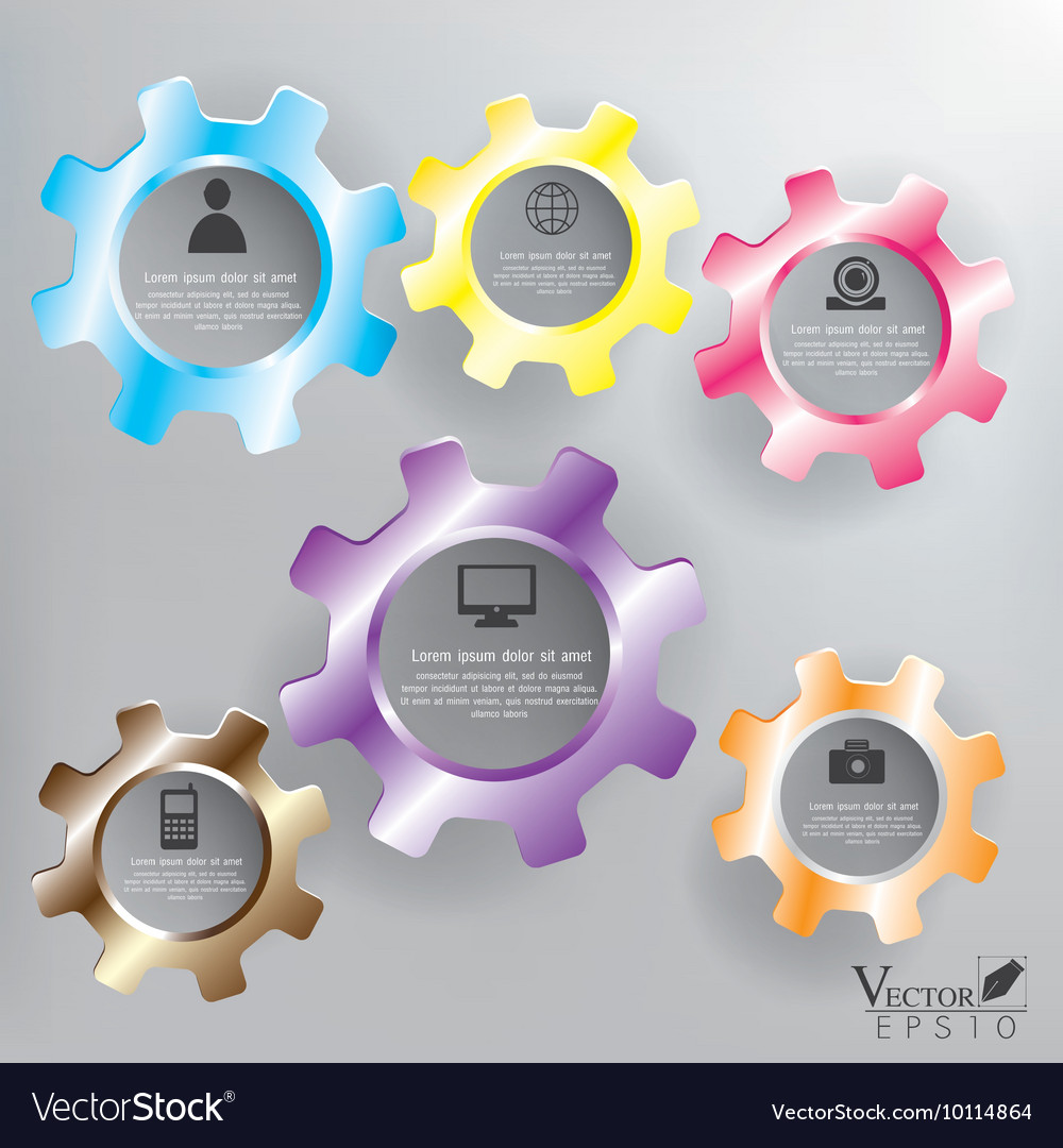 Abstract color gears infographics vector