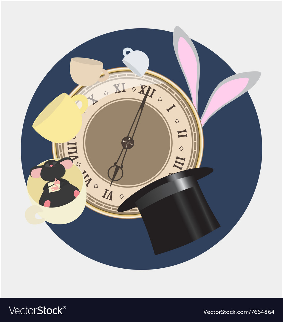 Alice in wonderland mad tea party vector
