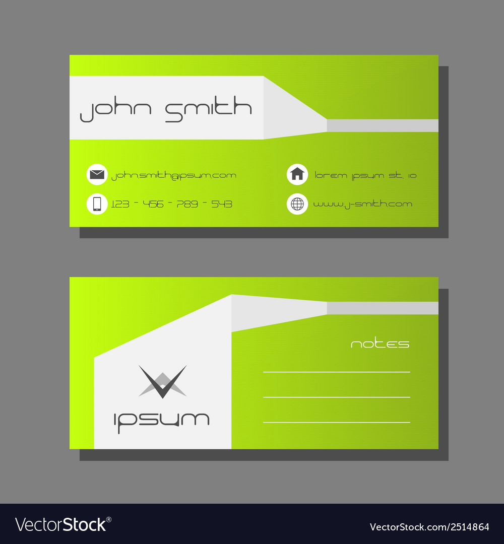 Business card template  green and white design vector