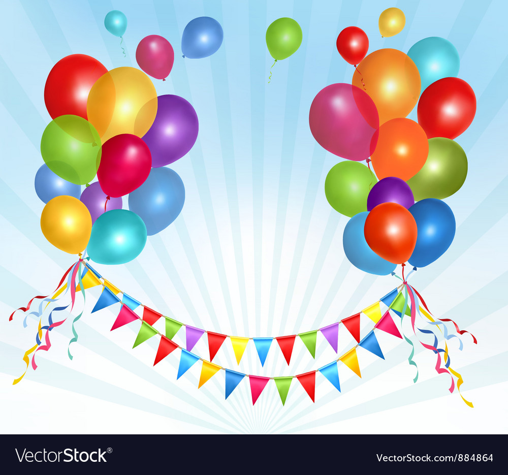 Holiday background with colorful ballons and flags vector