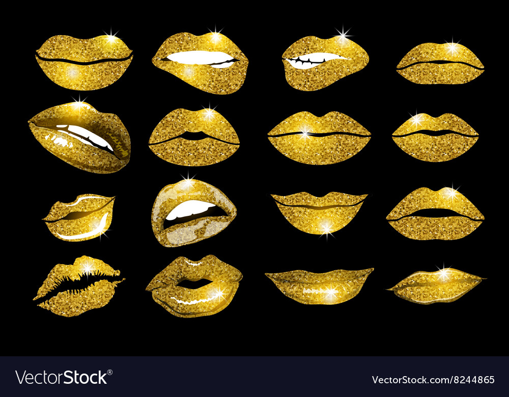 Lips gold set design glitter element vector