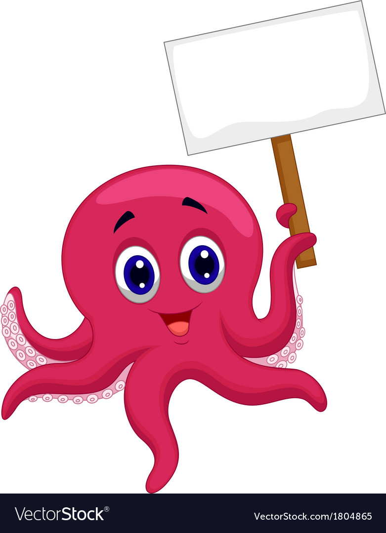 Octopus cartoon holding blank sign vector