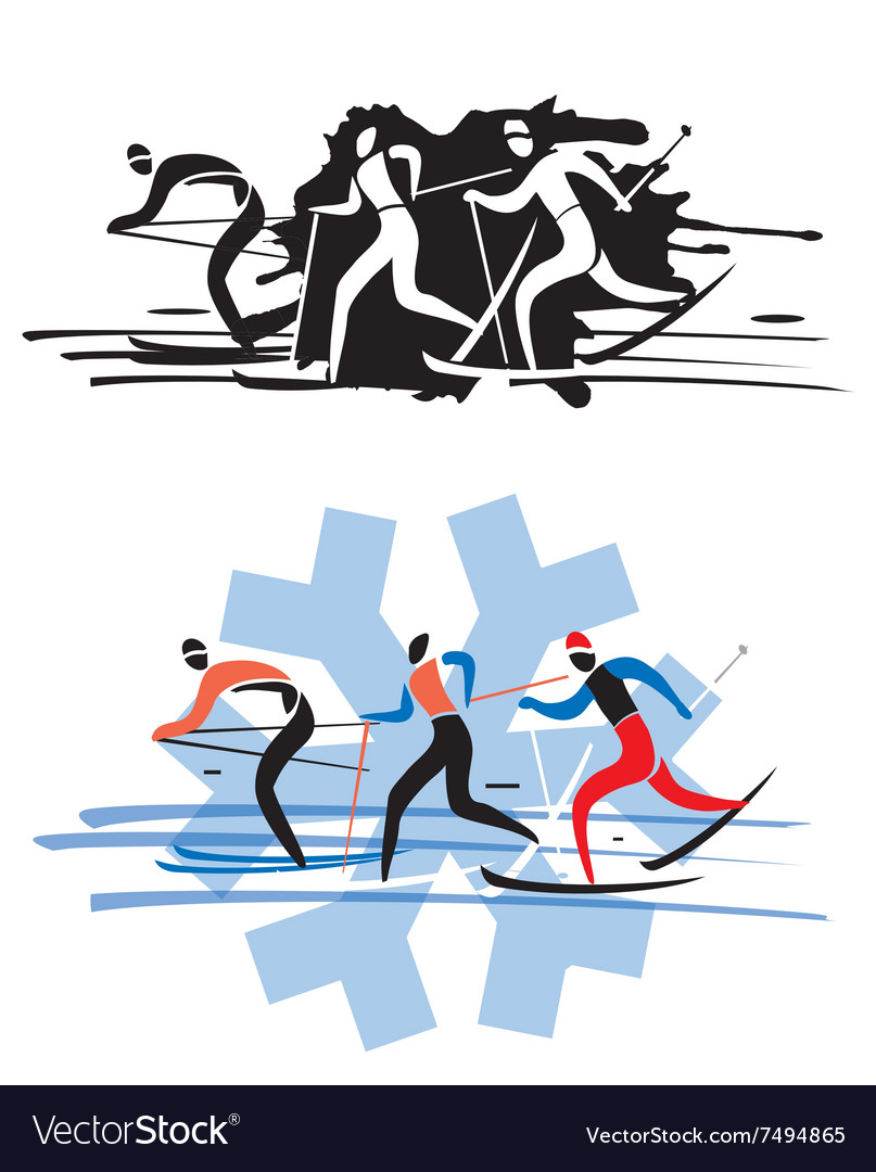 Three cross country skiers vector