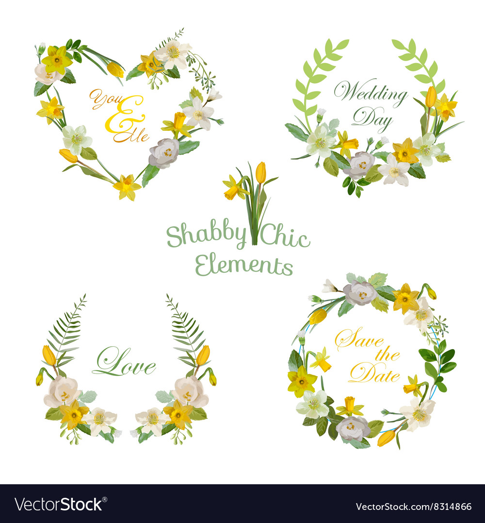 Flower banners and tags floral wreath set vector