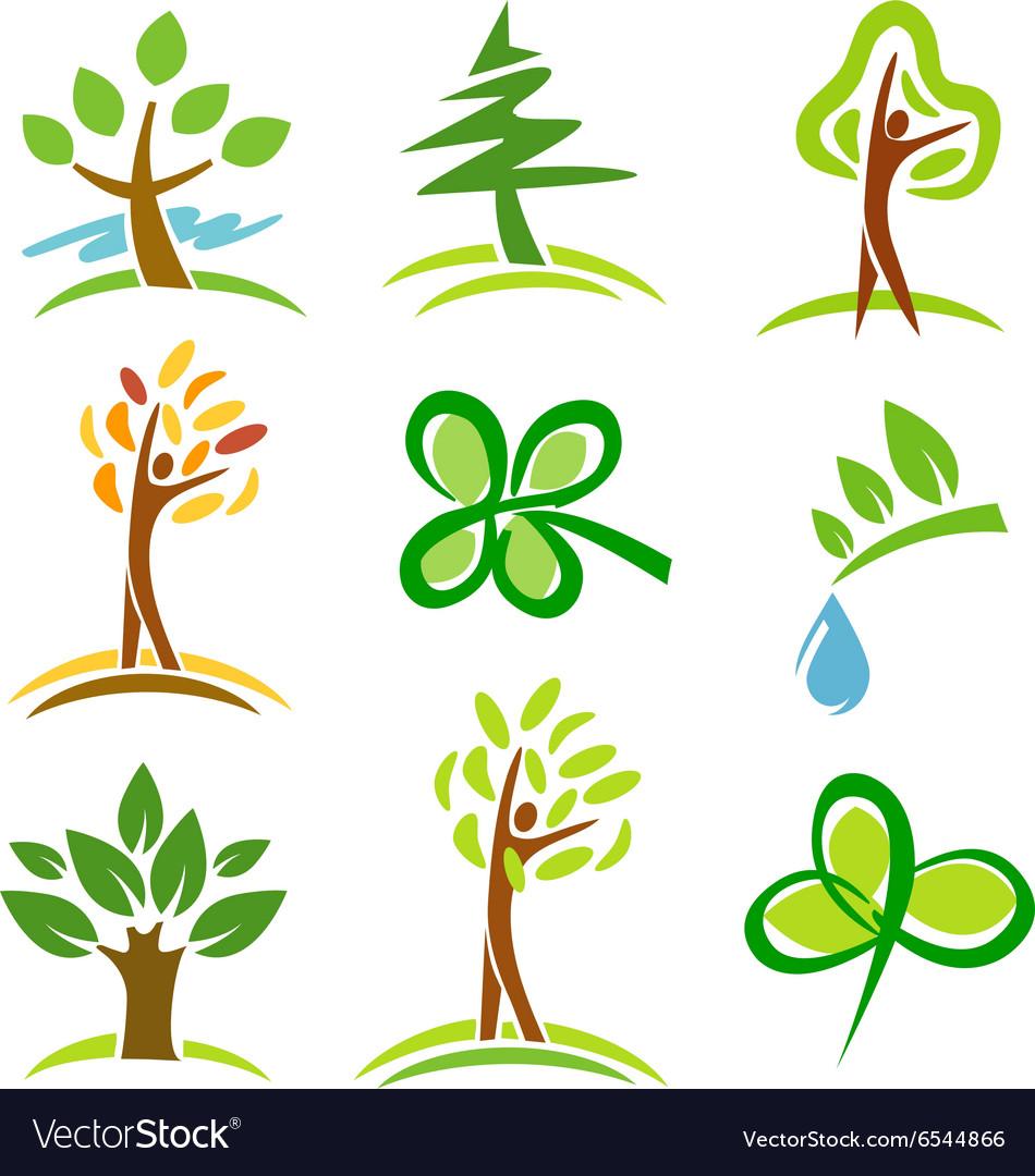 Icons trees plant vector