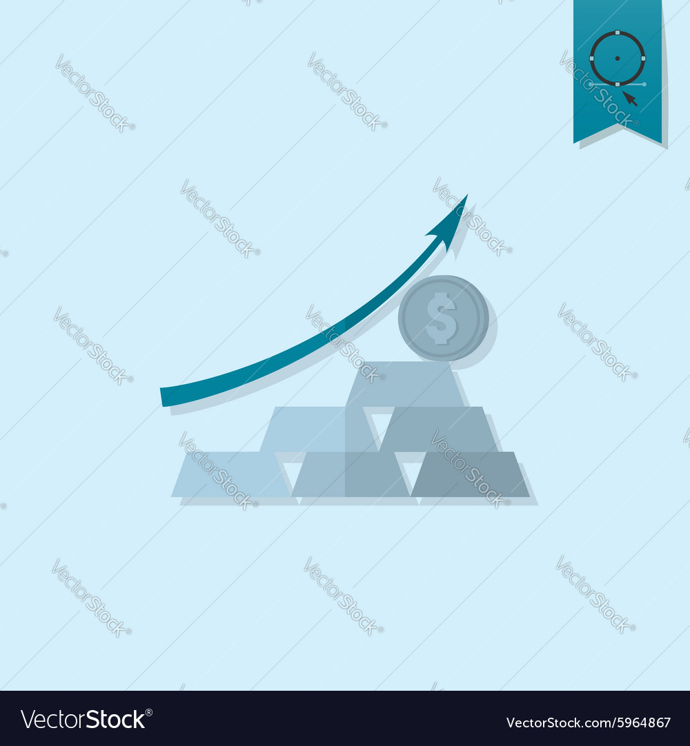 Business graph with arrow pointing up vector
