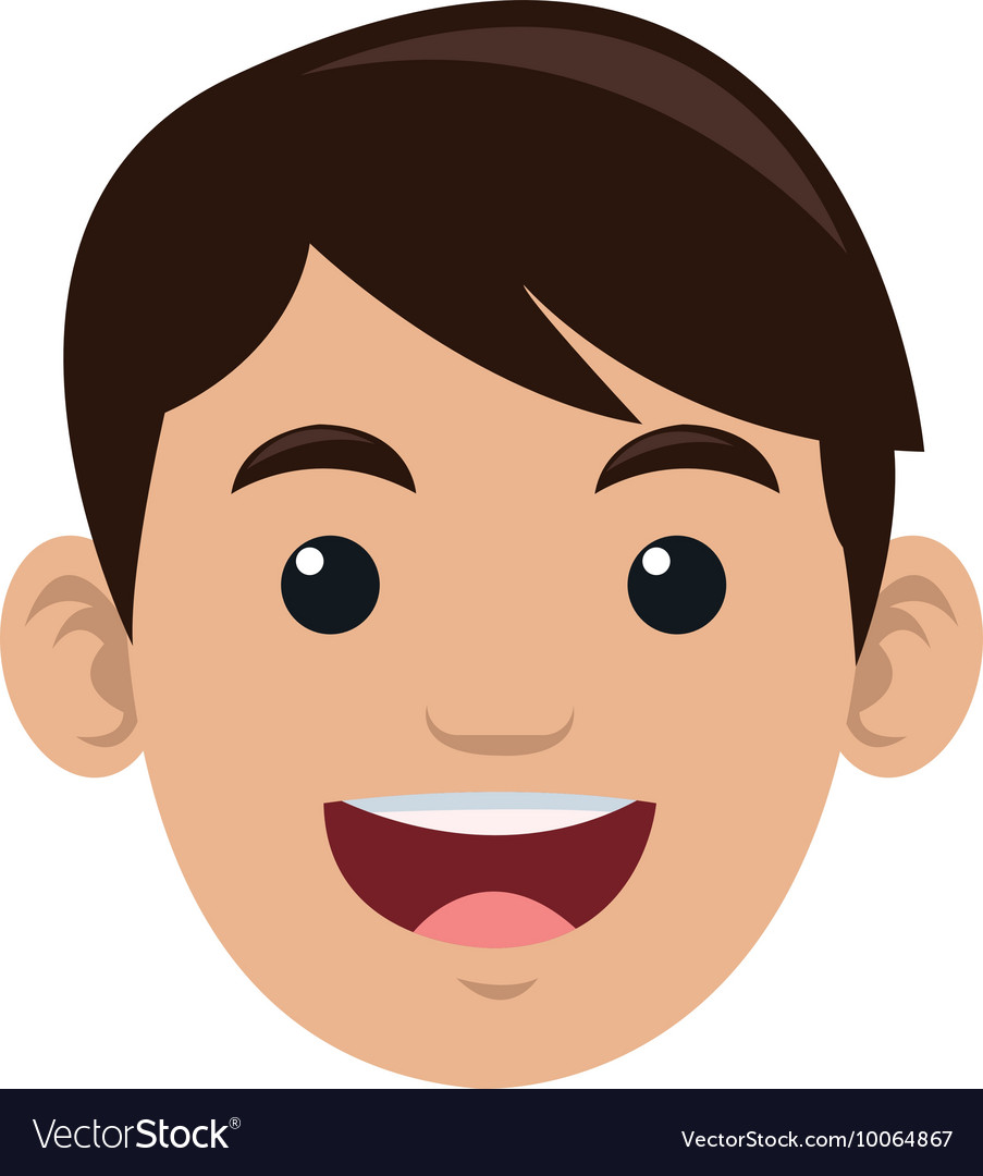 Face of happy man icon vector