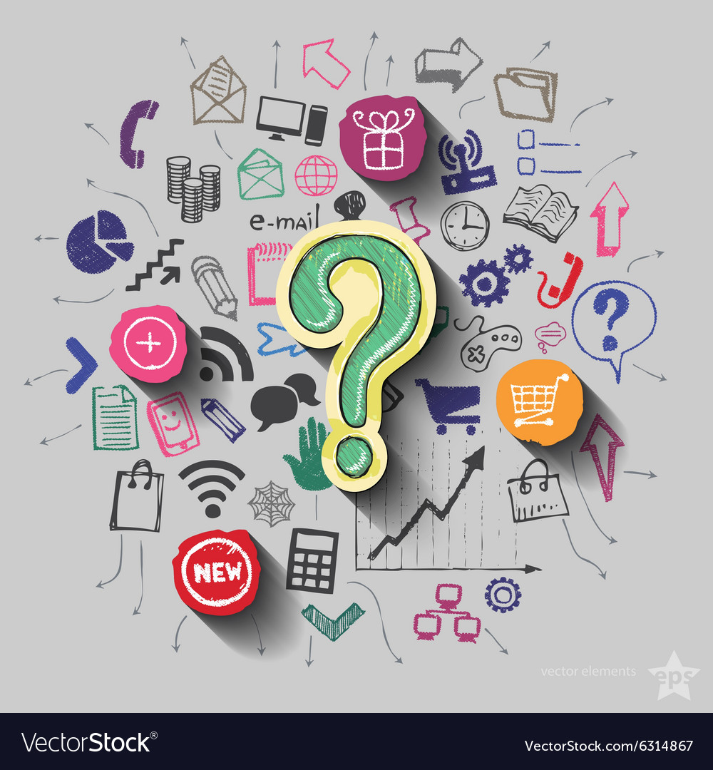 Question mark and collage with web icons vector