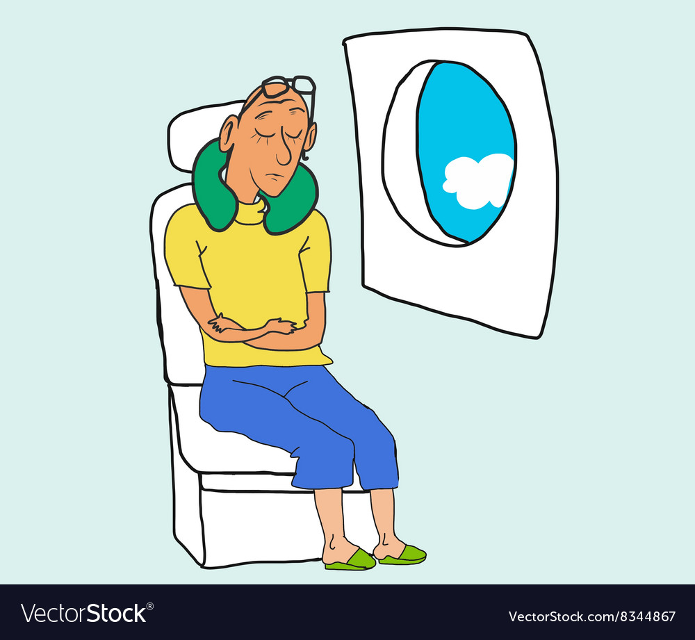 Tourist sleep and dreaming in airplane chair vector