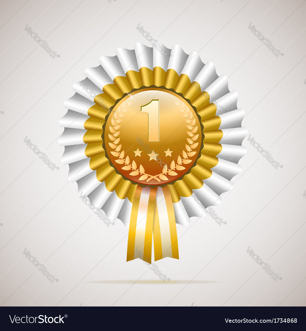Number one golden award with white and gold ribbon vector