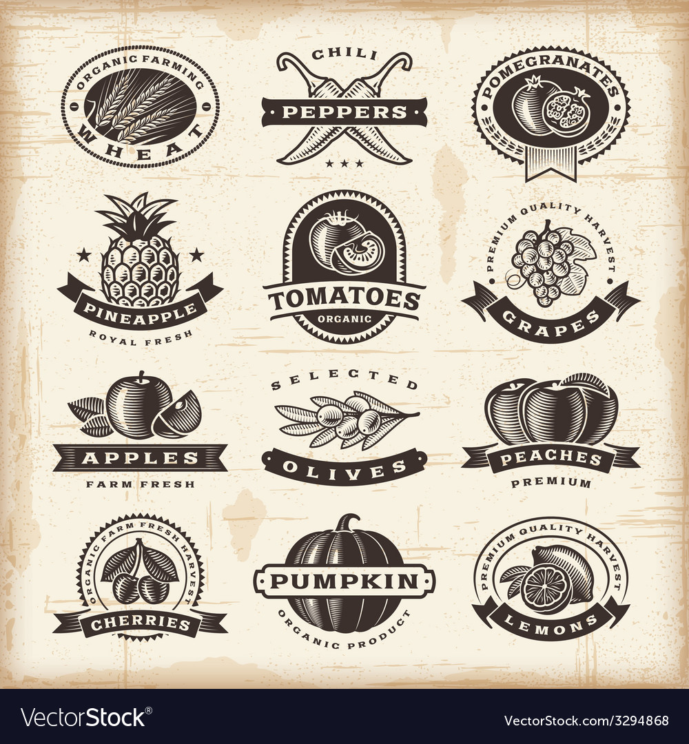 Vintage fruits and vegetables labels set vector
