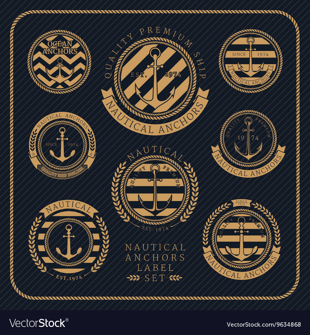 Vintage nautical anchors label set on dark striped vector