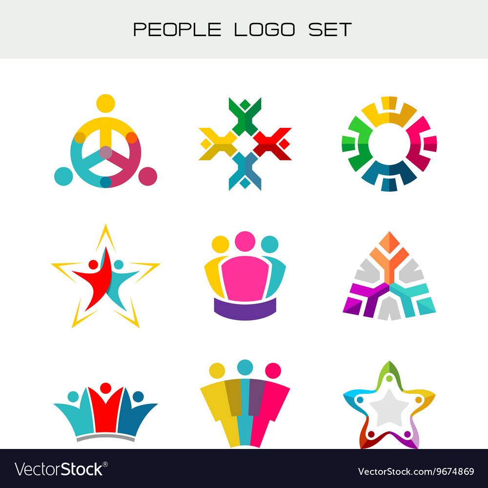 People logo set group of two three four or five vector