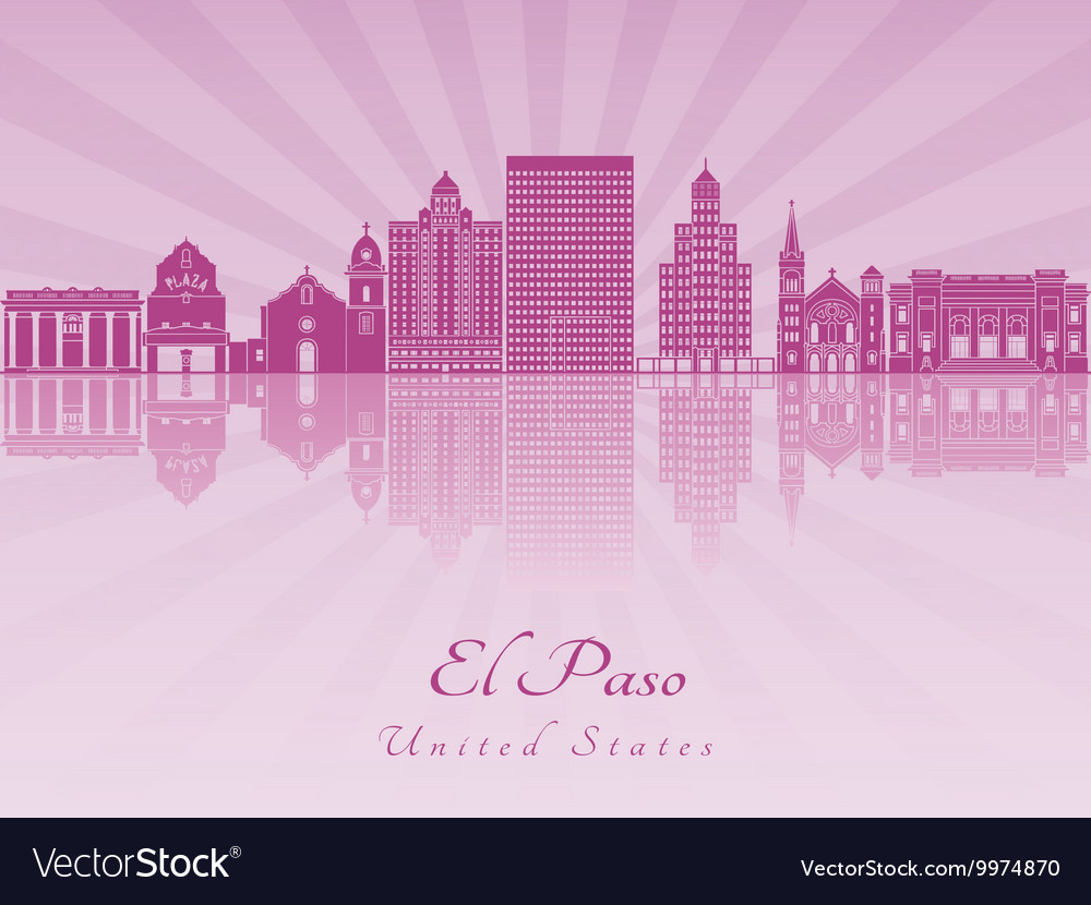El paso skyline in purple radiant orchid vector
