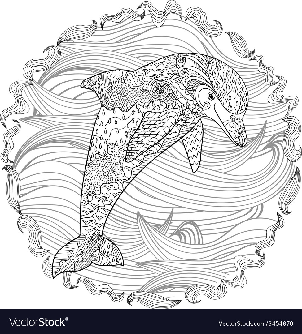 Happy dolphin with high details vector