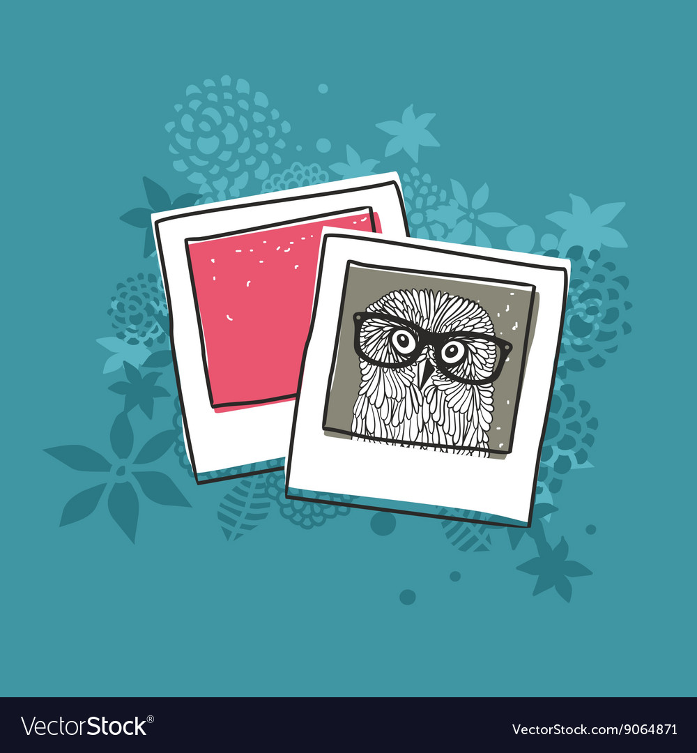 Old photo of cute owl vector
