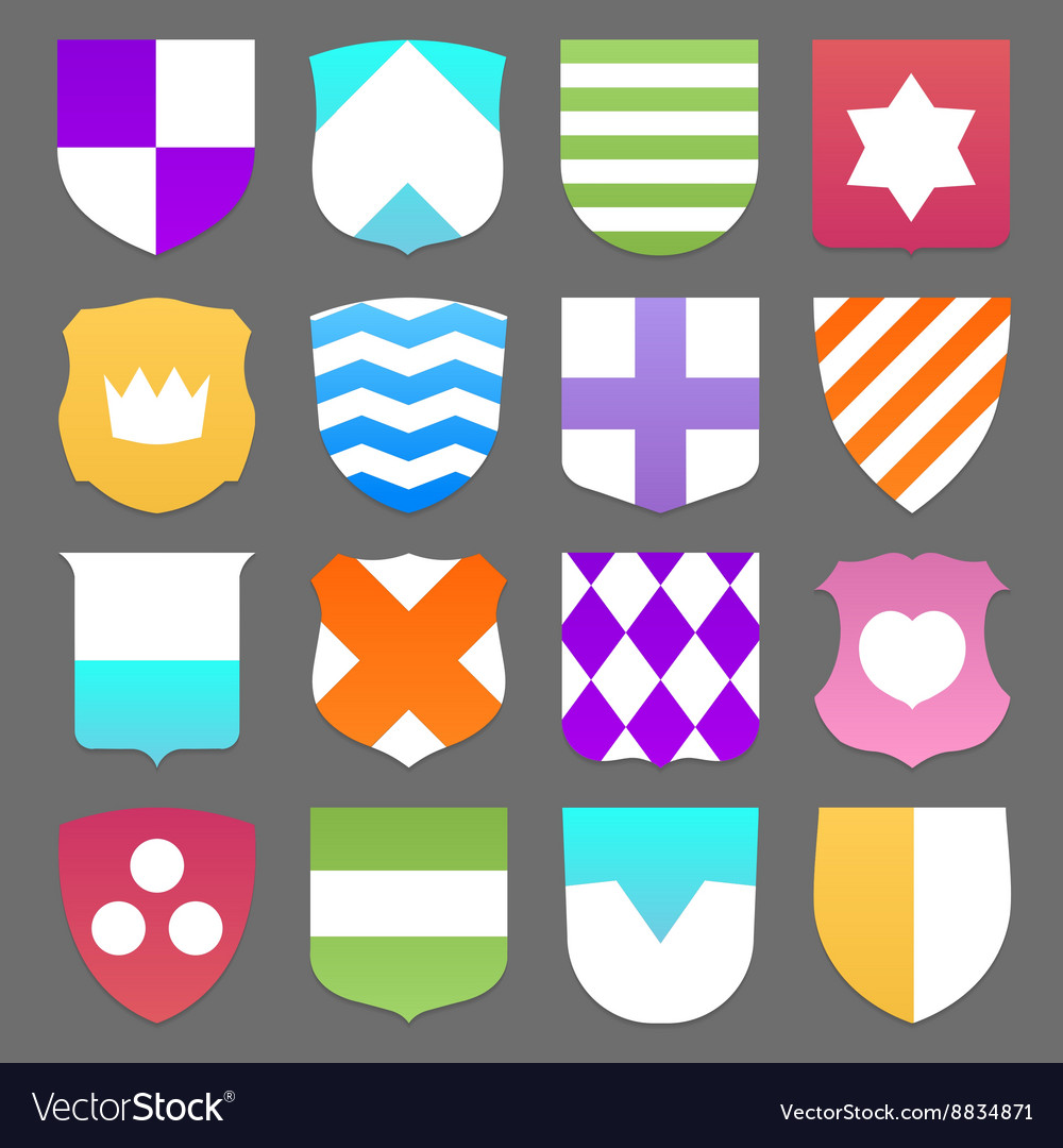 Set of colorful shields vector