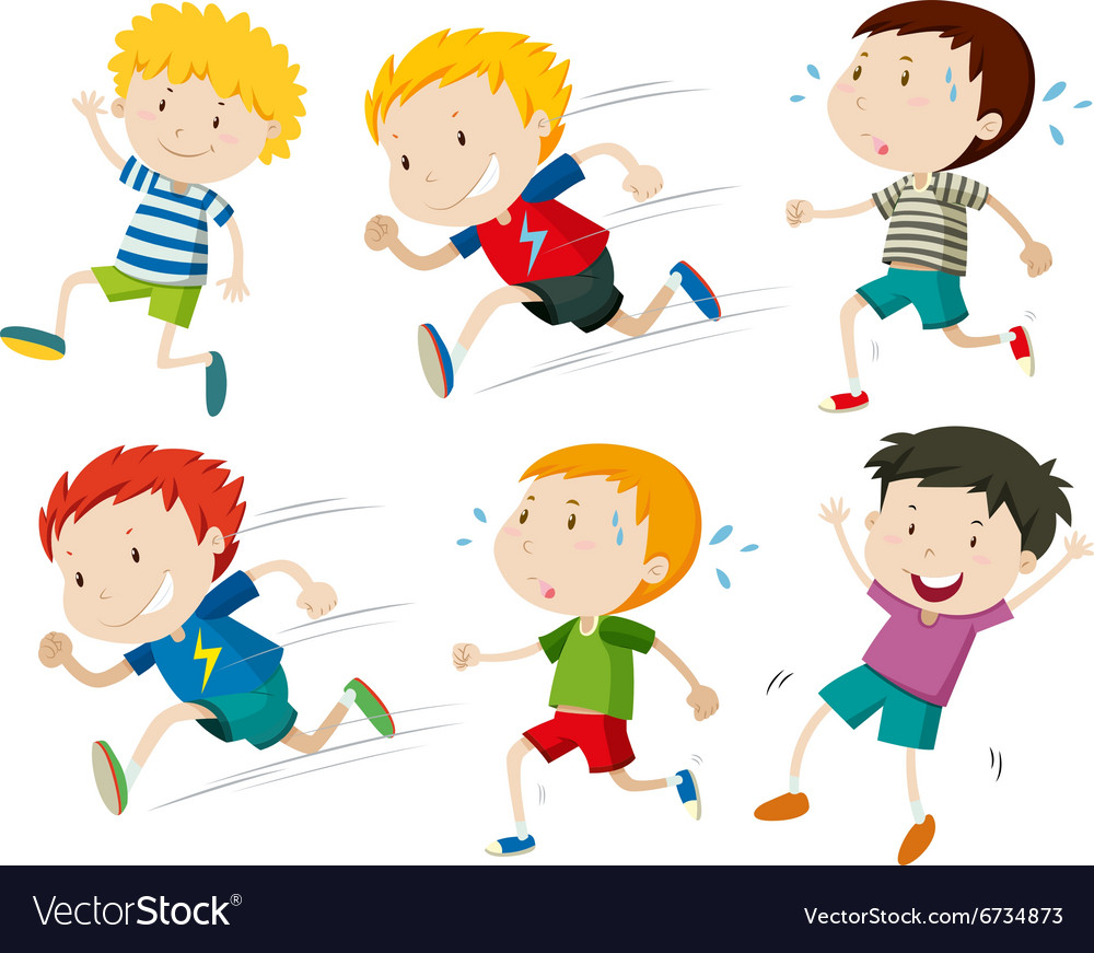 Boys running fast and slow vector