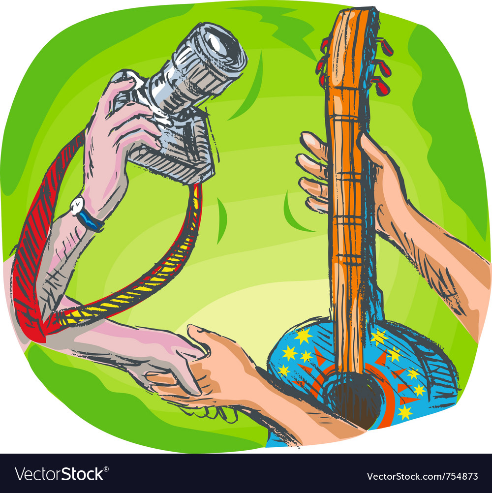 Dslr camera guitar music exchange vector