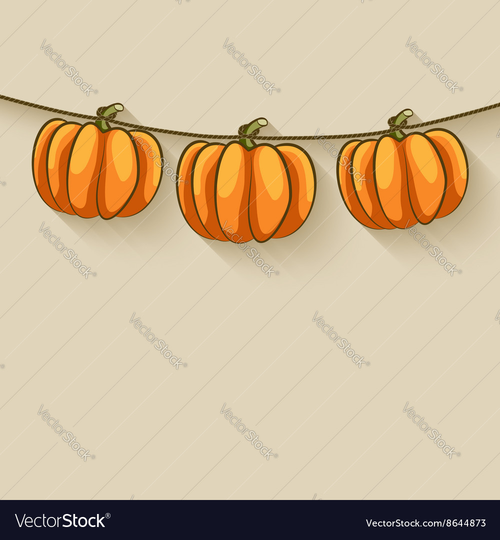 Pumpkins on rope thanksgiving background vector