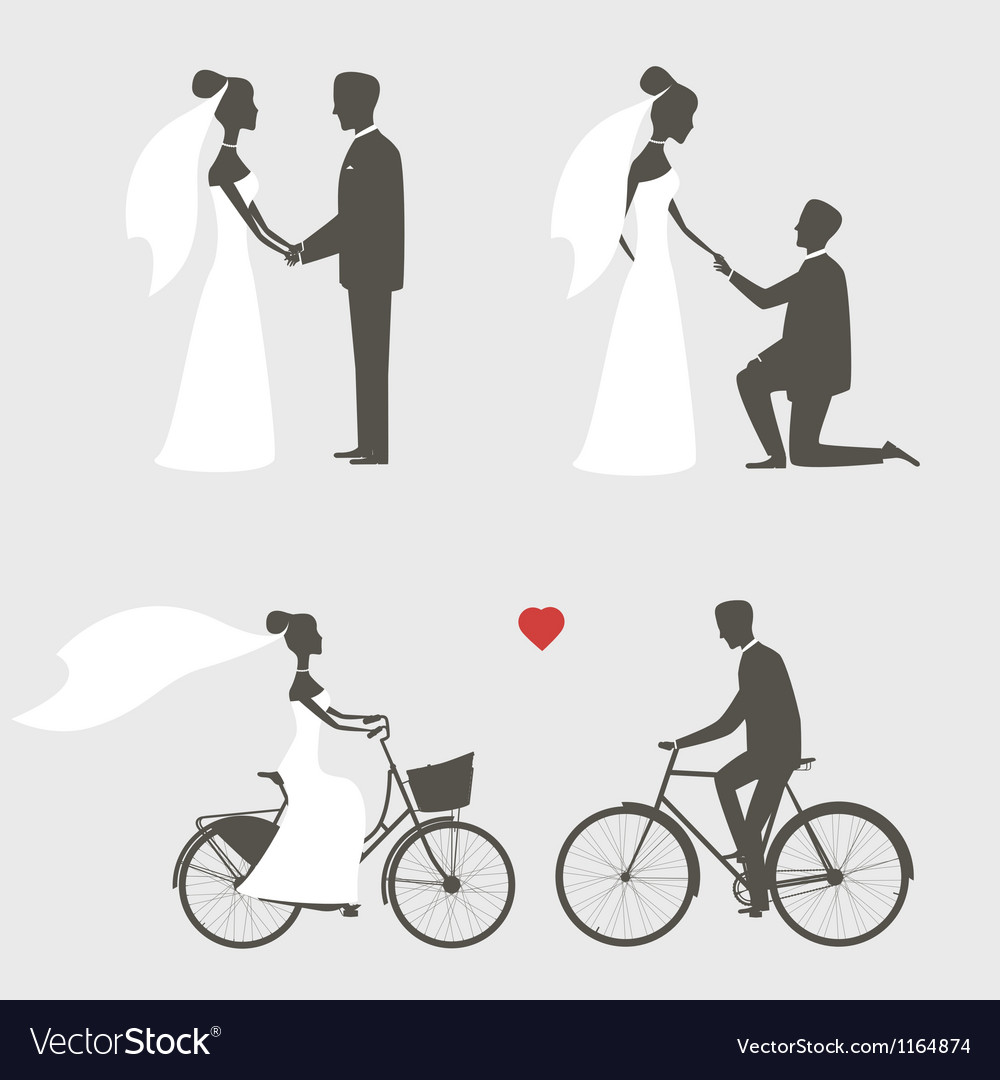 Bride and groom poses for wedding invitation vector