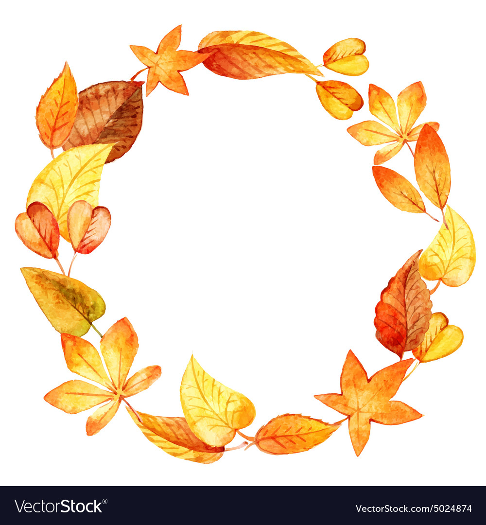 Watercolor leaves round frame vector