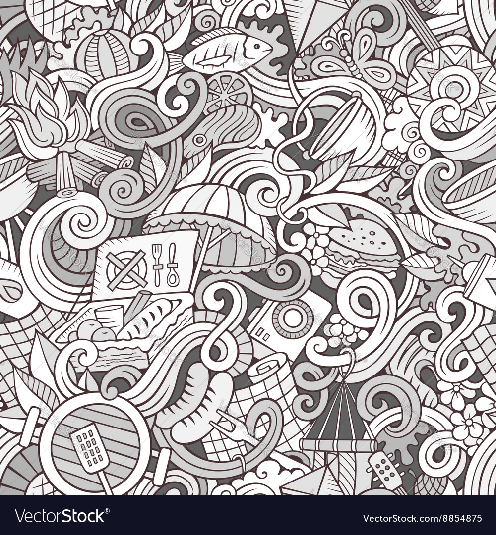Cartoon handdrawn picnic doodles seamless pattern vector