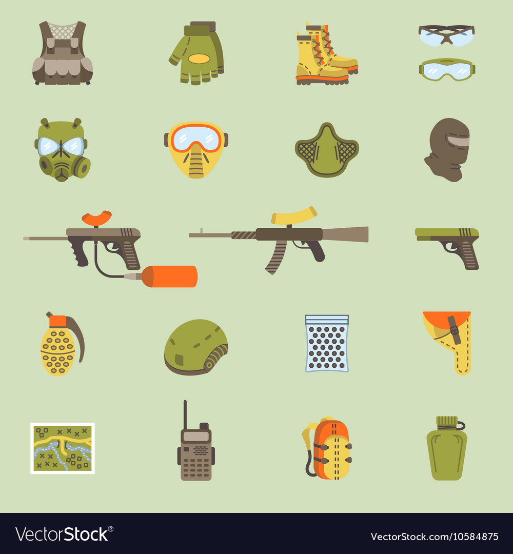 Flat paintball or airsoft icon set vector