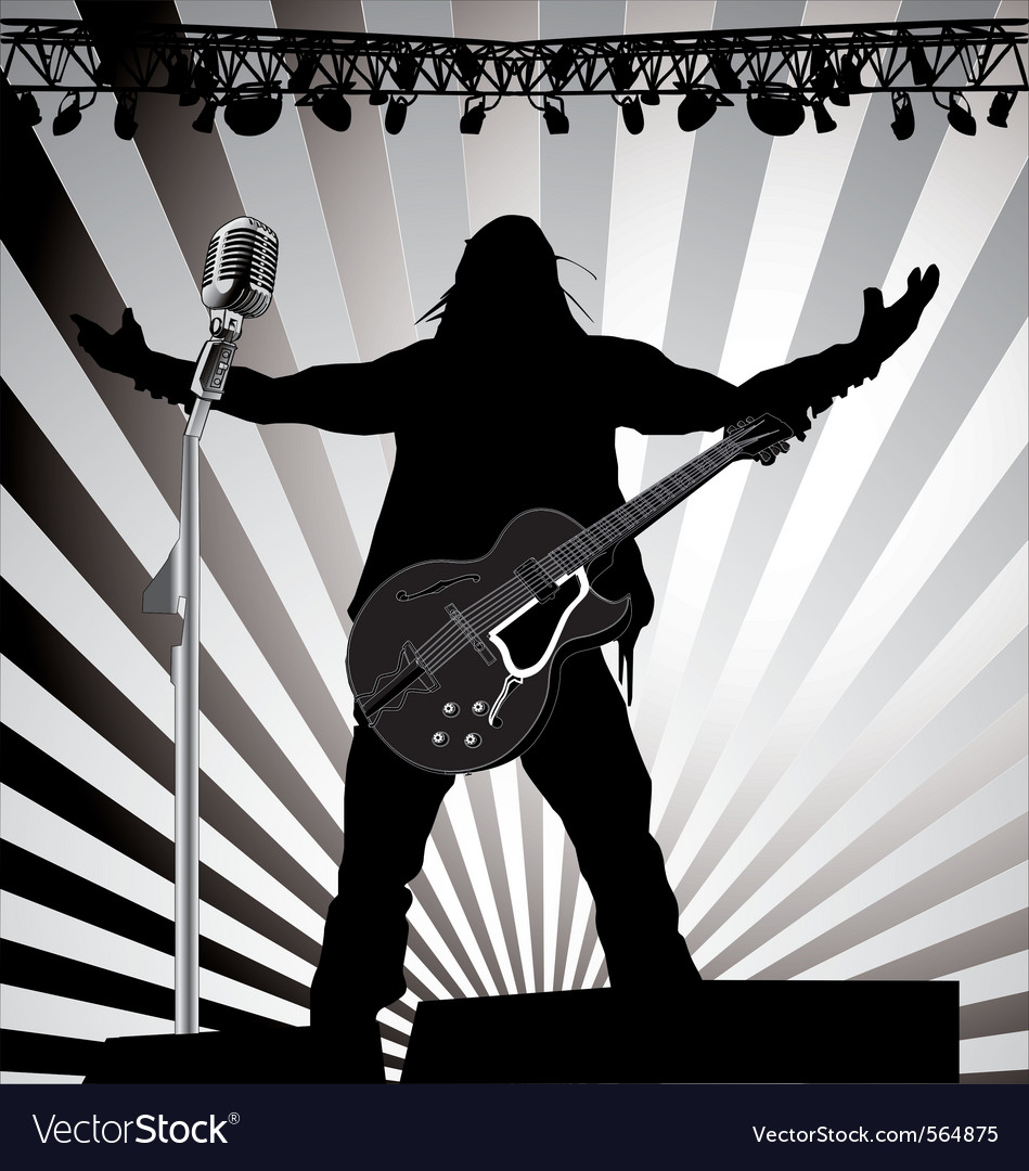 Guitarist on stage vector