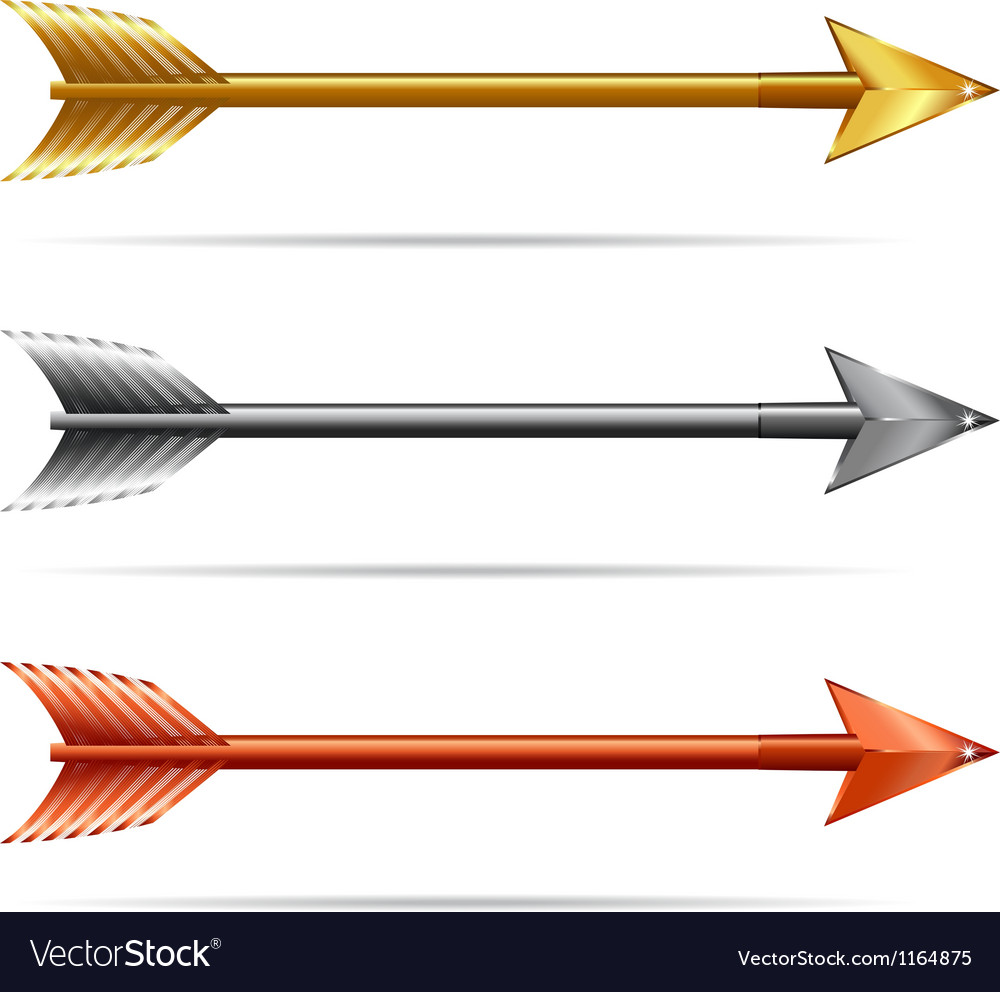 Three arrows  gold silver and bronze vector